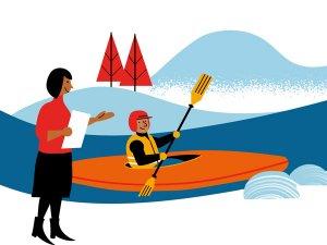 Matkaopas osaamisperusteisuuteen -markkinointikuvassa piirroshahmoinen meloja istuu kanootissa valmiina lähtöön. Rannalla seisova henkilö lähettää matkaan.