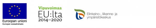 Hankkeen rahoittajien logot eli Euroopan ssosiaalirahastu, Vipuvoimaa EU:lta ja Elinkeino-, liikenne- ja ympäristökeskus.